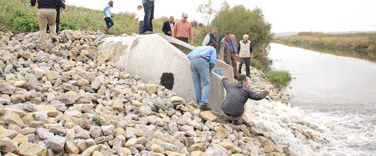 Ducks Unlimited staff and partners on Oct. 4 watch water flowing into part of the restoration project area.
