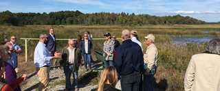 Representatives from DU, Axalta and numerous conservation organizations gathered Oct. 12 to celebrate Delaware Bay conservation.