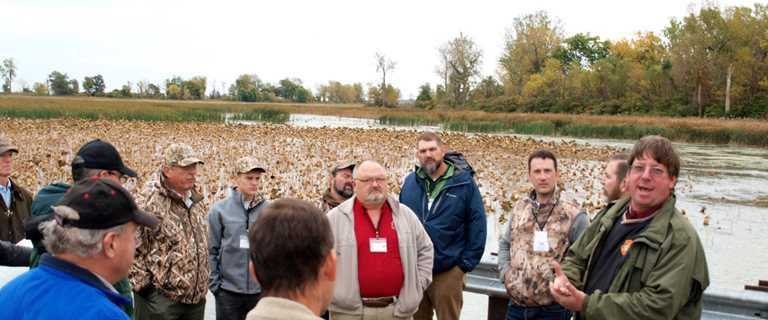 Ohio Partnership Hunt participants tour Lake Erie Marsh projects in late October.