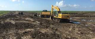 Construction underway in September to improve habitat on the Middleton Unit of Anahuac National Wildlife Refuge.