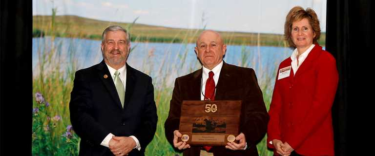 From left: Ducks Unlimited CEO Dale Hall, PGC Bureau of Wildlife Management Director Wayne Laroche, Ducks Unlimited Canada CEO Karla Guyn.