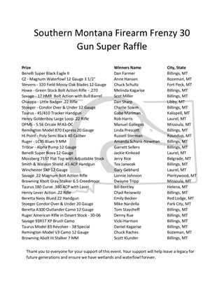 Southern Montana Firearm Frenzy 30 Gun Super Raffle