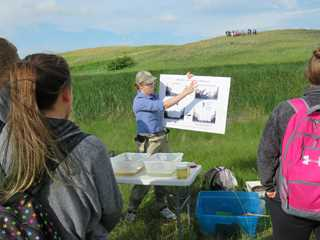 DU biologist Ryann Cressey explains the wet-dry cycle of wetlands.