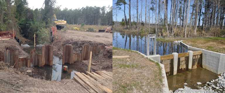 Before (left) and after (right) project construction.