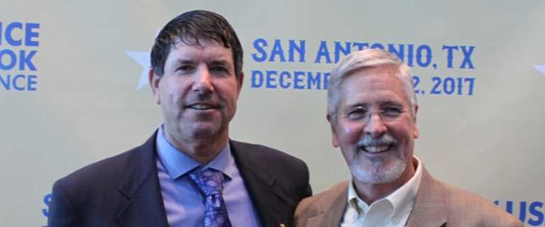 Chairman of the USA Rice Farmers Conservation Committee Leo LaGrande (left) presented the award to Kirby Brown (right).