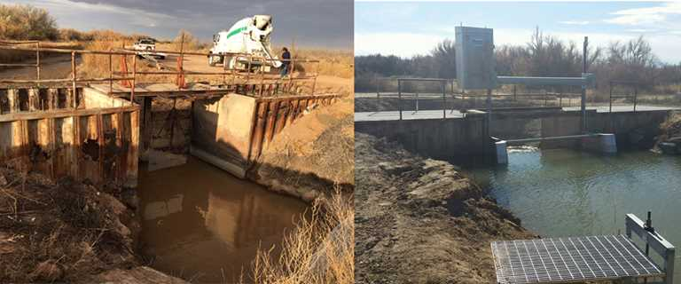 The water control structure before (left) and after (right) replacement.