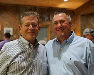 Left to right, DU Director of Development Kirk Davidson and  Don Budd,who gathered friends to help fund Neosho.