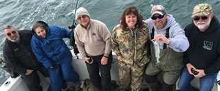 Les and Lynn Jones (left) fish with DU staff and volunteers