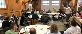 U.S. Sen. Joe Donnelly (D-IN) addresses participants of a Farm Bill roundtable discussion March 12.
