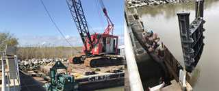 DU used a barge and crane (left) to replace cast iron gates (right) in five concrete bays.