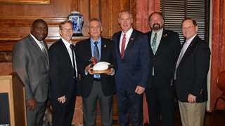 (Left to right) Jerome Ford,Greg Sheehan, Eduardo Carrera, Ryan Zinke, Rogers Hoyt, John Tomke