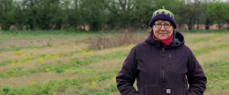 Kim Bayer, owner and operator of Slow Farm in Ann Arbor, Mich.