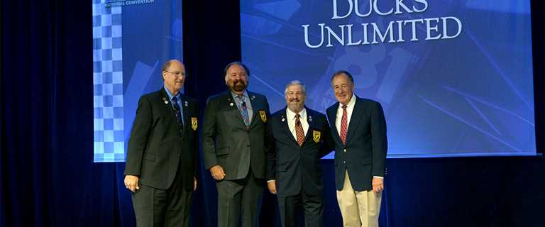 From left, DU Chairman of the Board Paul Bonderson Jr., President Rogers Hoyt Jr., CEO Dale Hall and Bass Pro Shops Founder Johnny Morris