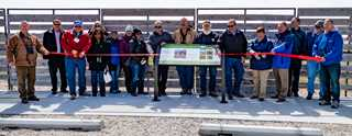 Partners, including Ducks Unlimited, gathered to dedicate the wildlife viewing area at Rowe Sanctuary