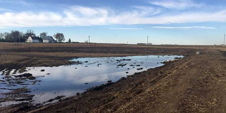 This just-completed wetland will soon be filled with native vegetation and nesting ducks.