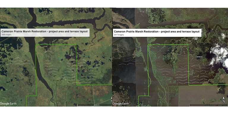 2005 and 2017 imagery shows the extent of marsh erosion from Hurricanes Rita and Ike. Terraces will restore the area.