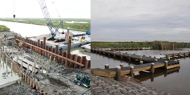 Rockefeller Unit 4 water control structure during construction (left) and after completion.