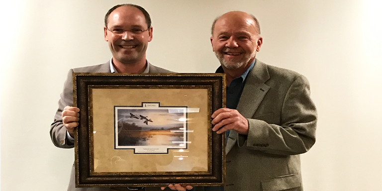 Geoff Glasrud (left), vice president and manufacturing manager of the Flint Hills Resources Pine Bend Refinery in Minnesota.