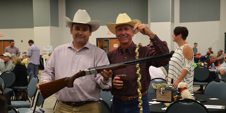 Texas game wardens Carlos Rios of Beeville and Scott McLeod of Rockport attended the Rockport-Fulton banquet in 2018.