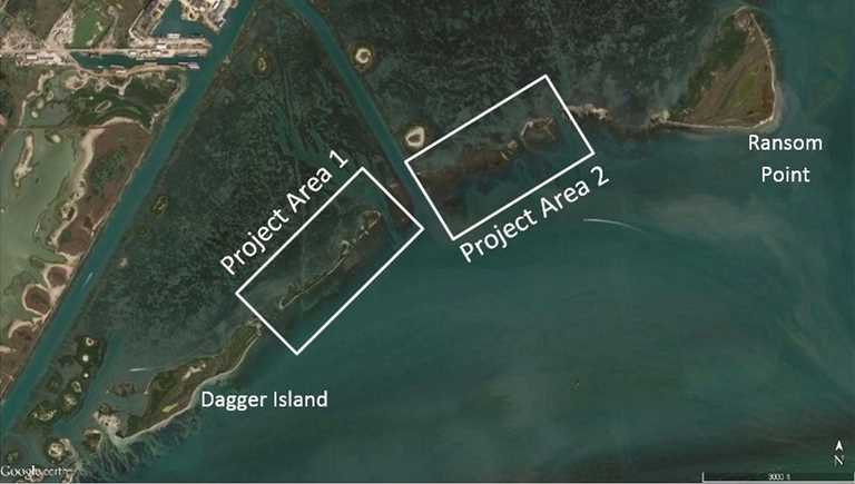 Breakwaters will protect existing land in Project Area 1.  Project Area 2 will include a breakwater and beneficial use of dredged material.
