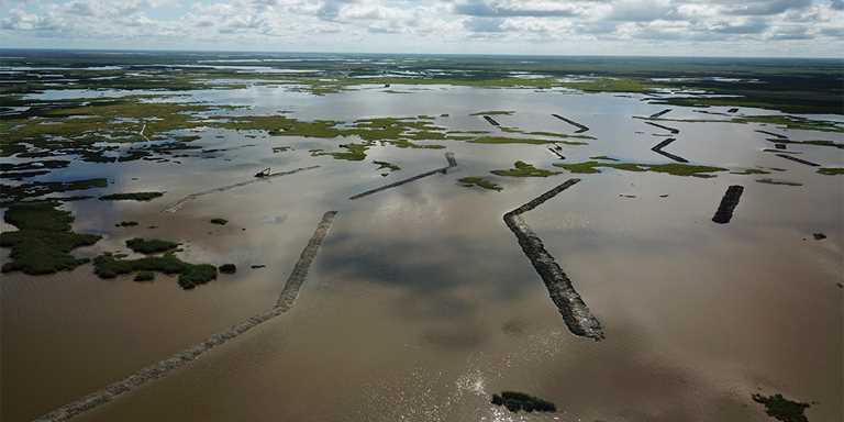 New wetland terraces in Louisiana