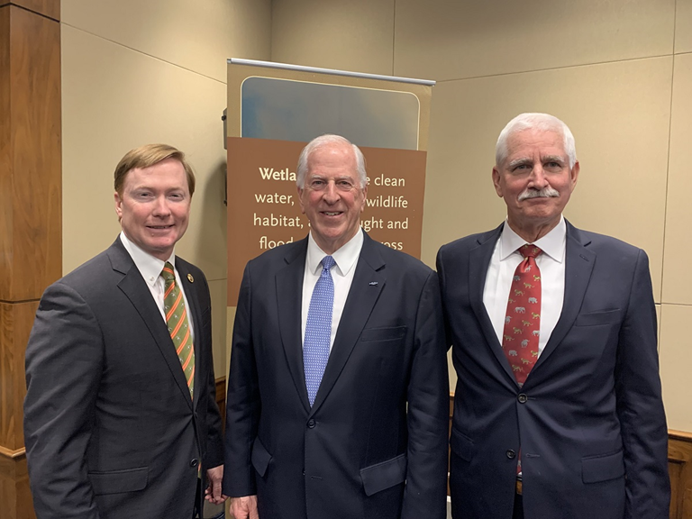 DU CEO Adam Putnam, Rep. Mike Thompson and National Audubon Society's Glenn Olson celebrate 30 years of NAWCA.