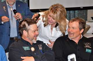 Montana RD Barry Allen (l) laughs with Manager of Conservation Bob Sanders during celebration.