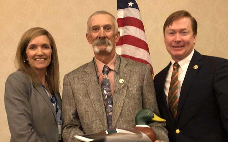 DU Chief Conservation Officer Karen Waldrop, Marty St. Louis, DU CEO Adam Putnam