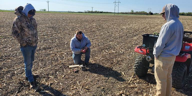DU Agronomist Brad Schmidt demonstrates soil health techniques at the SD Soil Health Demonstration Farm