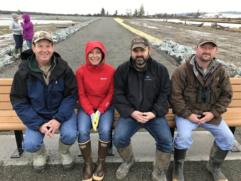 DU staffers Steve Liske, April Zohn, C.K. Eidem and Greg Green at the completion of the Leque Island estuary restoration project.