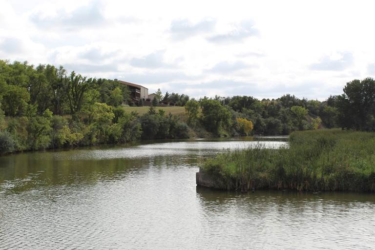 Future site of low-rise dam and settling ponds to improve water quality on Lake Mitchell.
