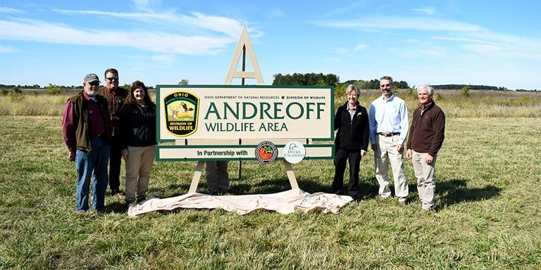 The Ohio DNR and DU celebrate Andreoff Wildlife Area in 2019.