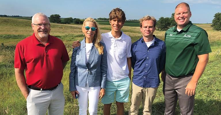 DU Regional Biologist Mike Shannon; Andrea Waitt Carlton and her sons, Wesley Carlton and Samuel Carlton Waitt; and DU DOD Dominic Lawrence.