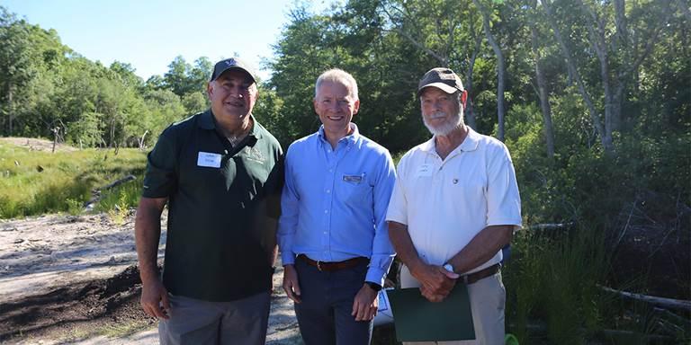 John Dow, Mass DU state chairman; David O'Neill, Mass Audubon president, Tony Jones, DU Mass DU volunteer, tour Tidmarsh on June 24.