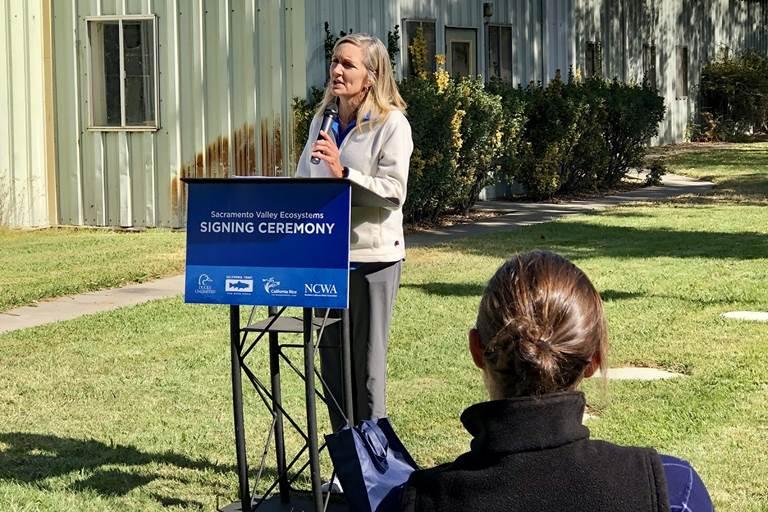 DU Chief Conservation Officer Karen Waldrop spoke at the MOU signing.
