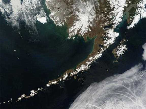 The Aleutian Islands, off the coast of Alaska