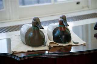 Canvasback decoys hand-carved and painted by Rep. Mike Thompson (CA), which he donated to the National Museum of American History.