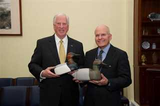 Rep. Mike Thompson (CA) with the Director of the National Museum of American History at the decoy presentation ceremony.