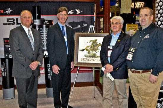 "Winchester Ammunition, long-time partner of Ducks Unlimited presents a ""Partners in Conservation"" award at the 2012 SHOT Show in Las Vegas."