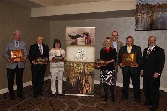 Ducks Unlimited 2016 Wetland Conservation Achievement Award winners David Whitehurst, Ross Melinchuk, Tammy Fairbanks, Shelley Larson, Craig