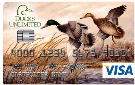 The Ducks Unlimited Visa Card products are the only cards that allow members, with every card purchase, to provide automatic financial suppo