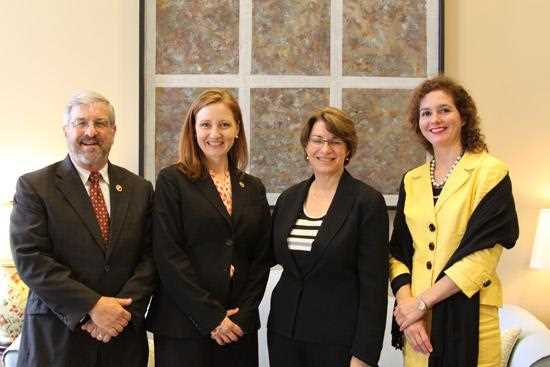 Pictured (left to right): Dale Hall CEO of Ducks Unlimited, Margaret Everson Chief Policy Officer for Ducks Unlimited, U.S. Senator Amy Klob